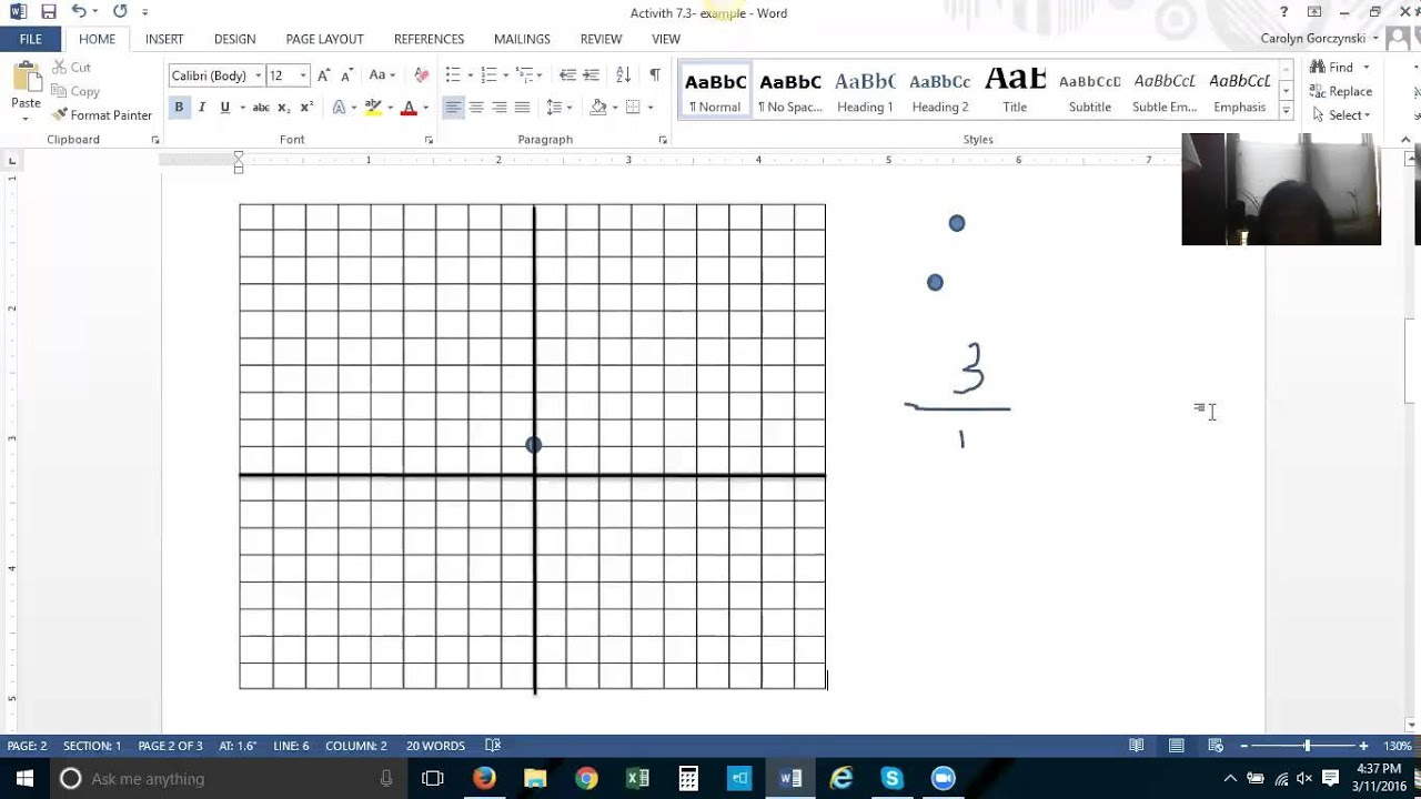 Plotting Points And Graphing Lines In Microsoft Word