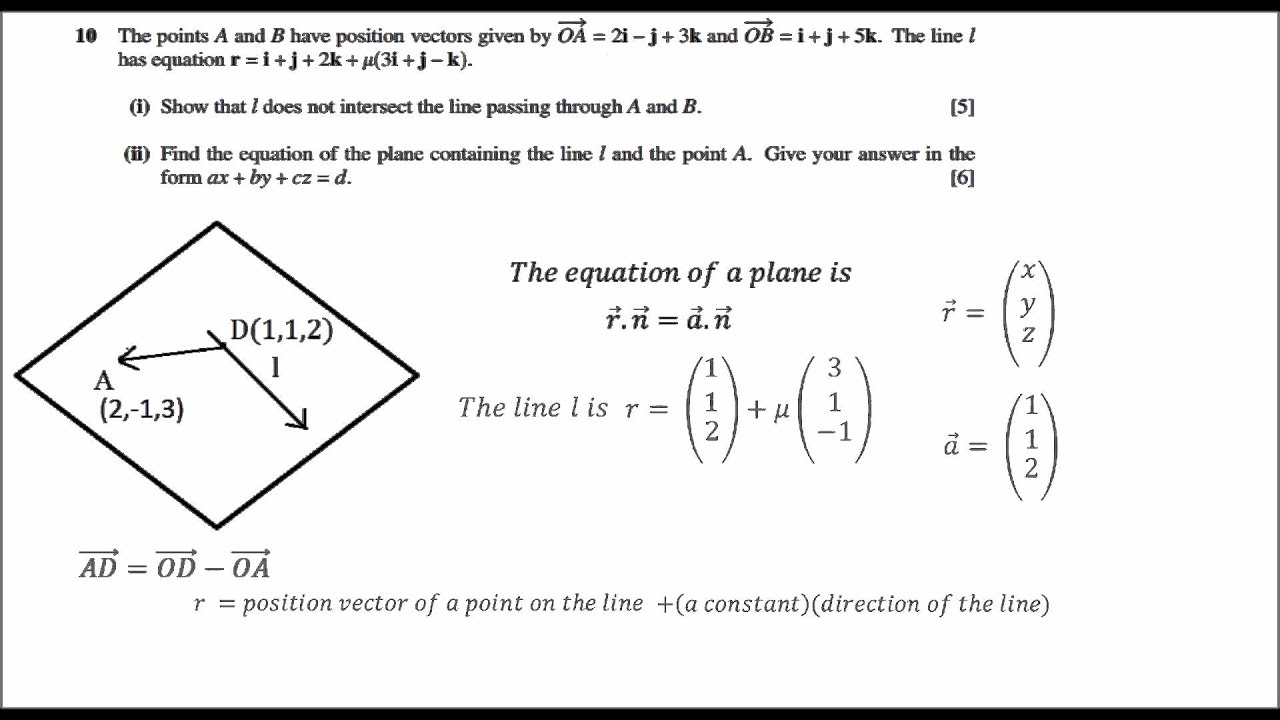 Worksheet Level 5 Maths Problems cie a level maths vectors equation of plane question no 10ii paper 32 may june 2015
