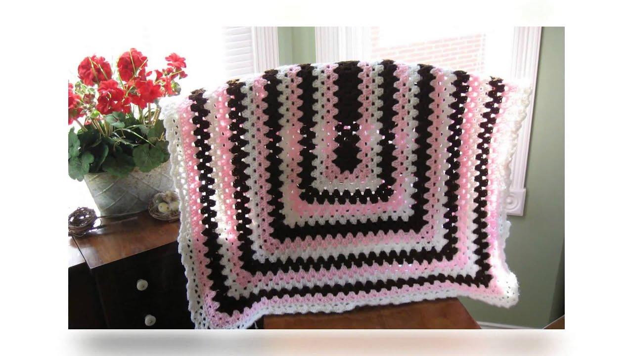 afghan crochet pattern for variegated yarn - YouTube