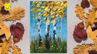Как нарисовать осенний пейзаж - урок рисования. Рисуем осень, пейзаж поэтапно.