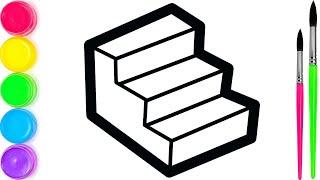Pelajari Menggambar dan Mewarnai Woodie Toy Stairs Untuk Anak-anak