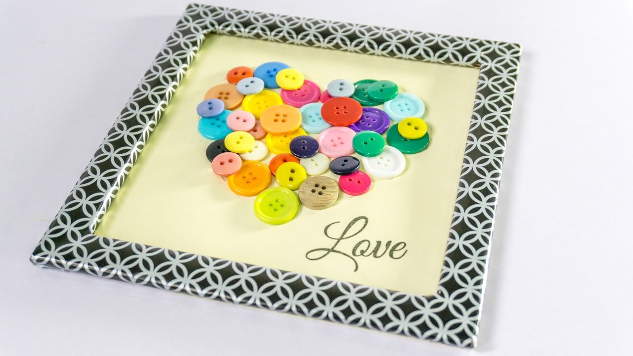 diy craft cardboard frame heart button art tutorial handiworks 102 youtube - Diy Cardboard Picture Frame