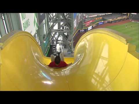 FOX Sports West's Mark Gubicza takes on the slide at Miller Park