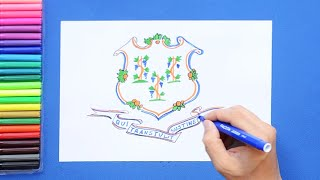 How to draw and color the Connecticut State Emblem / Flag