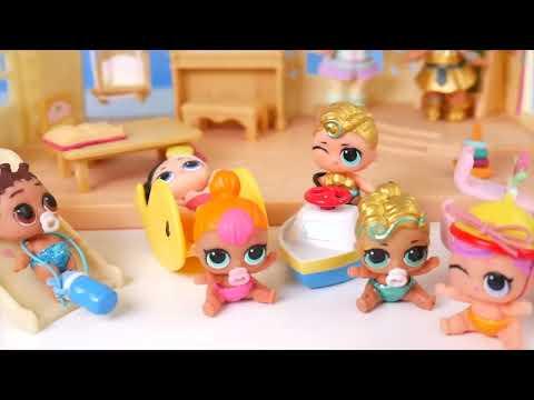 Unicorn and Pharaoh Babe Babysit Custom LOL Surprise Dolls Visits Punk Boi and + Lil Luxe Boy