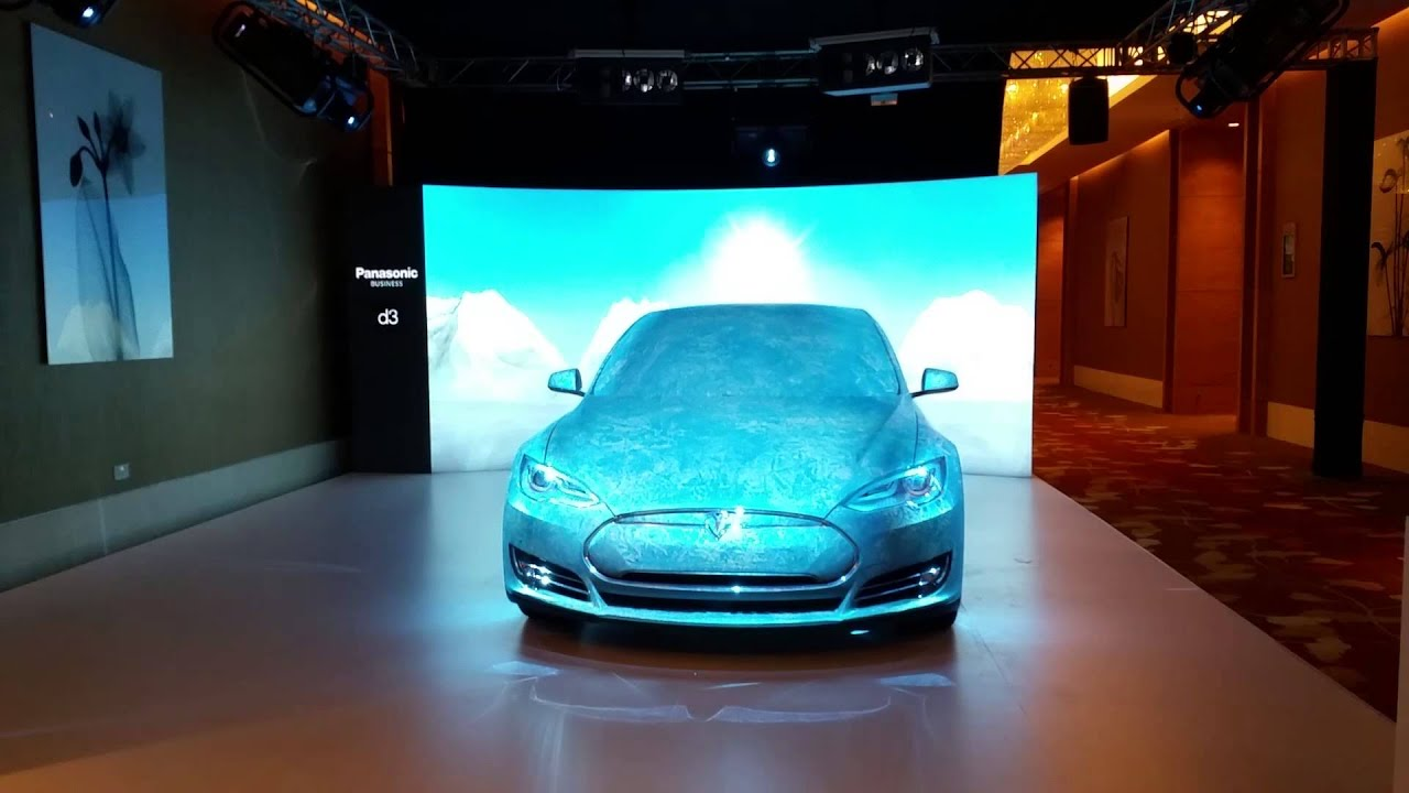 3d Projection Mapping Tesla Car Presented Panasonic Singapore Broadcast Asia 2015