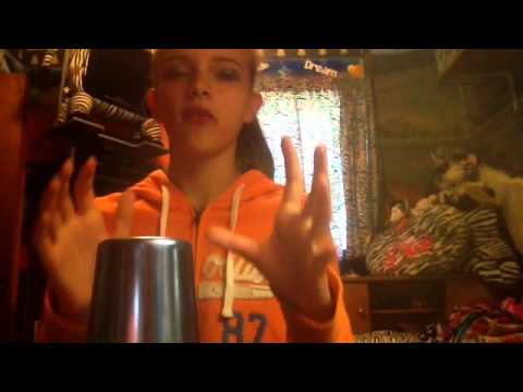 Girl get mad because she messed up on cup song!