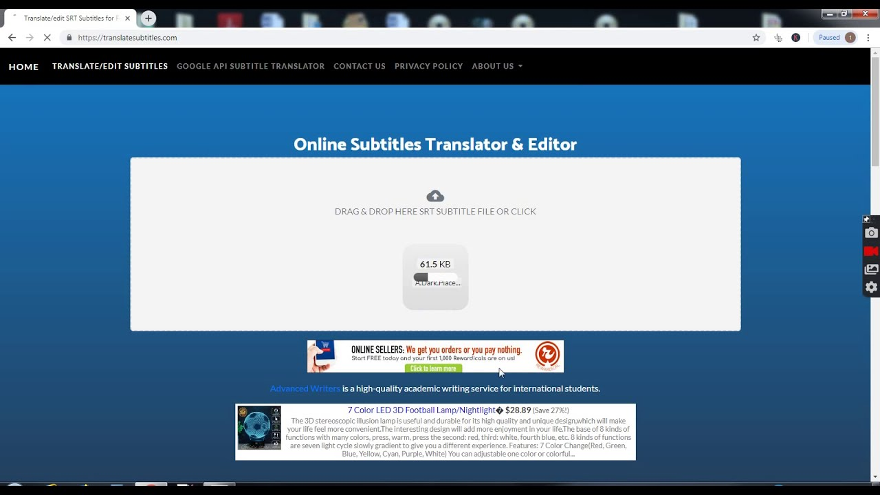 How to use Translate Subtitles to translate/edit SRT files via google