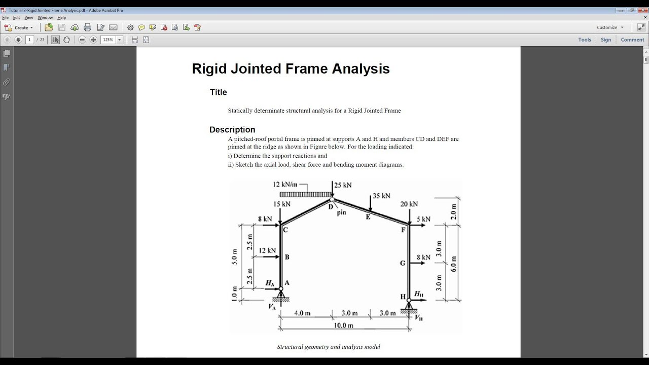 Tutorial 3 Civil Rigid Jointed Frame Analysis Youtube