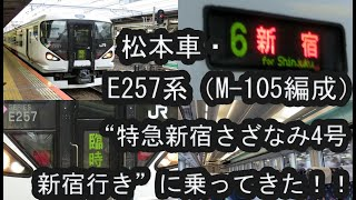 """[春の増発列車] E257系(M--105編成) """"特急新宿さざなみ4号 新宿行き""""に乗ってきた!! 2020/06/20"""