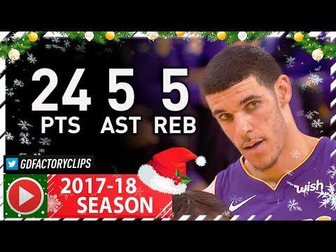 Lonzo Ball Full Highlights vs Warriors (2017.12.22) - 24 Pts, 5 Reb, 5 Ast, 5 Threes!