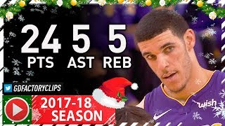 Lonzo Ball Full Highlights vs Warriors (2017.12.22) - 24 Pts, 5 Reb, 5 Ast, 5 Threes!