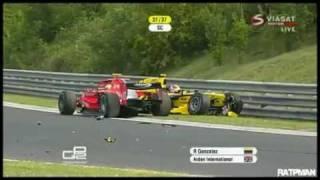 GP2 Hungaroring 2010 Race Start - Bianchi and Tung crash