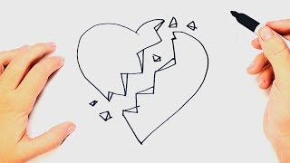 How to draw a Broken Heart Step by Step | Easy drawings