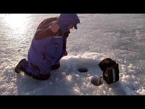 Lake trout ice fishing. Finger Lakes, NY