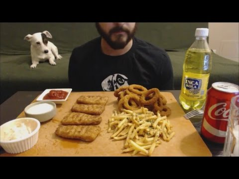 ASMR - Fish & Chips & Onion Rings - Eating Sounds | Whispered