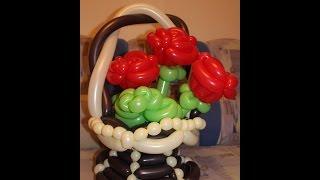 Корзина с цветами из шаров шдм / Flower basket of balls SHDM