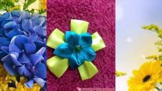 Цветок из ленты с двумя ярусами