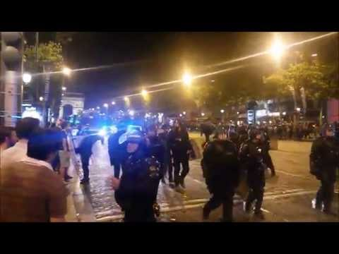 Euro 2016 Paris Champs Elysees French fans clash with riot police