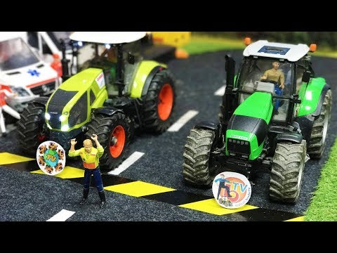 BRUDER RC TRACTORS RACE! World Of Toys Vs  RC T4K Channel!