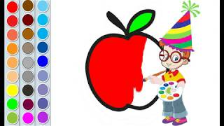 How to Draw Apple | Apple Coloring Pages | Apple Painting | Learn Coloring