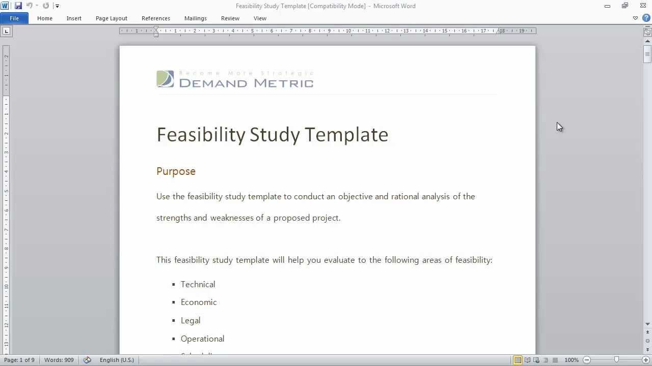 Feasibility study template youtube wajeb