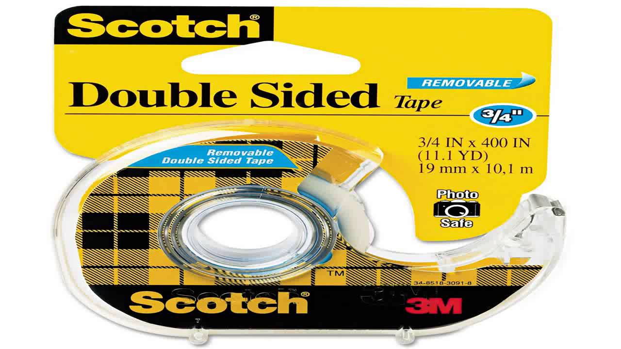 Scotch removable double sided tape with dispenser 34 x 400 inches 667 youtube - Scotch double face castorama ...