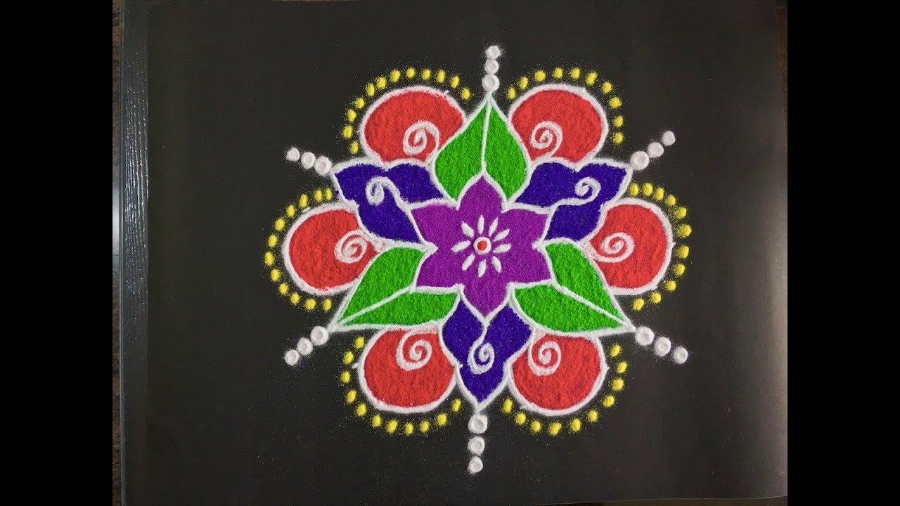 Beautiful Rangoli Design With Colours And Dots 9x5 Simple Rangoli Diwali Rangoli Design