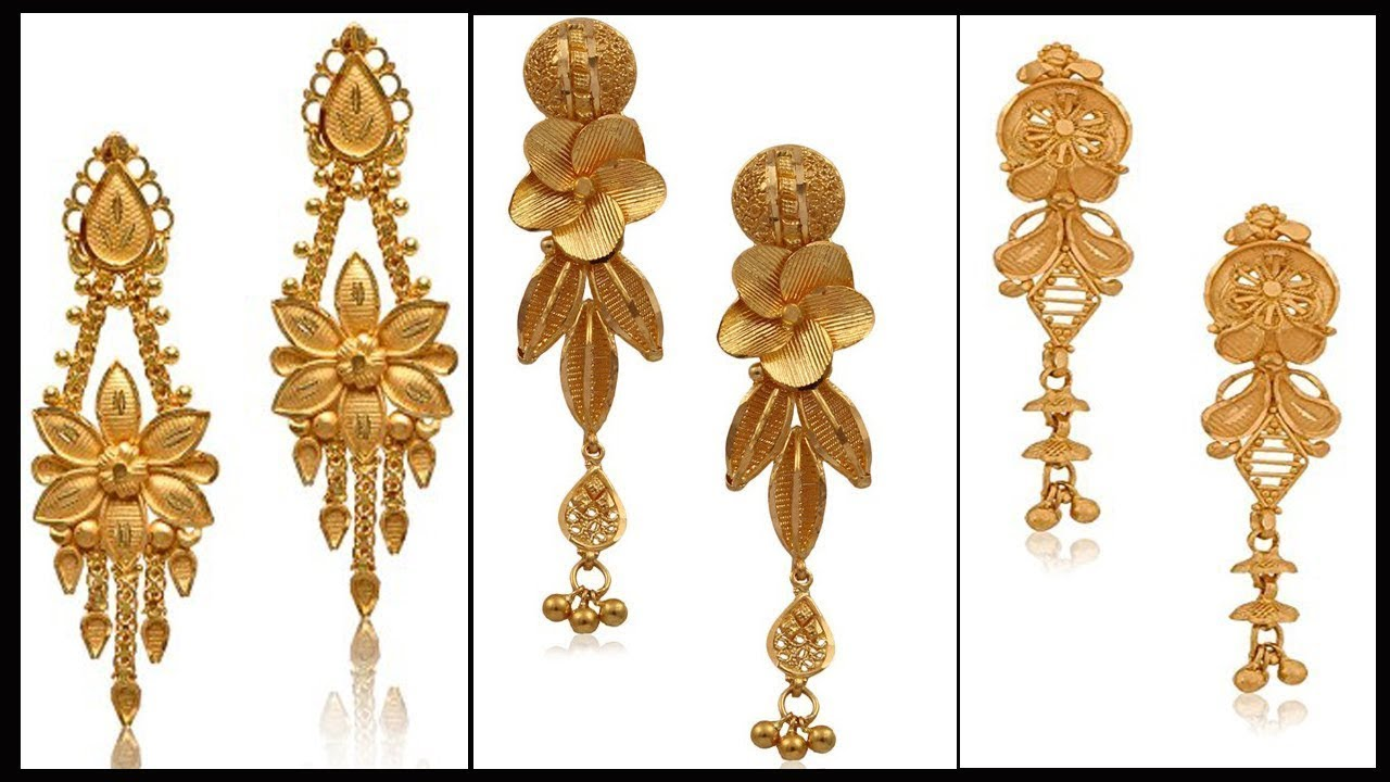 Latest Gold Earrings Designs Images With Weight Jewelry Trends 2018