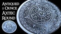 Antiqued 5 Ounce Aztec Calendar Silver Round