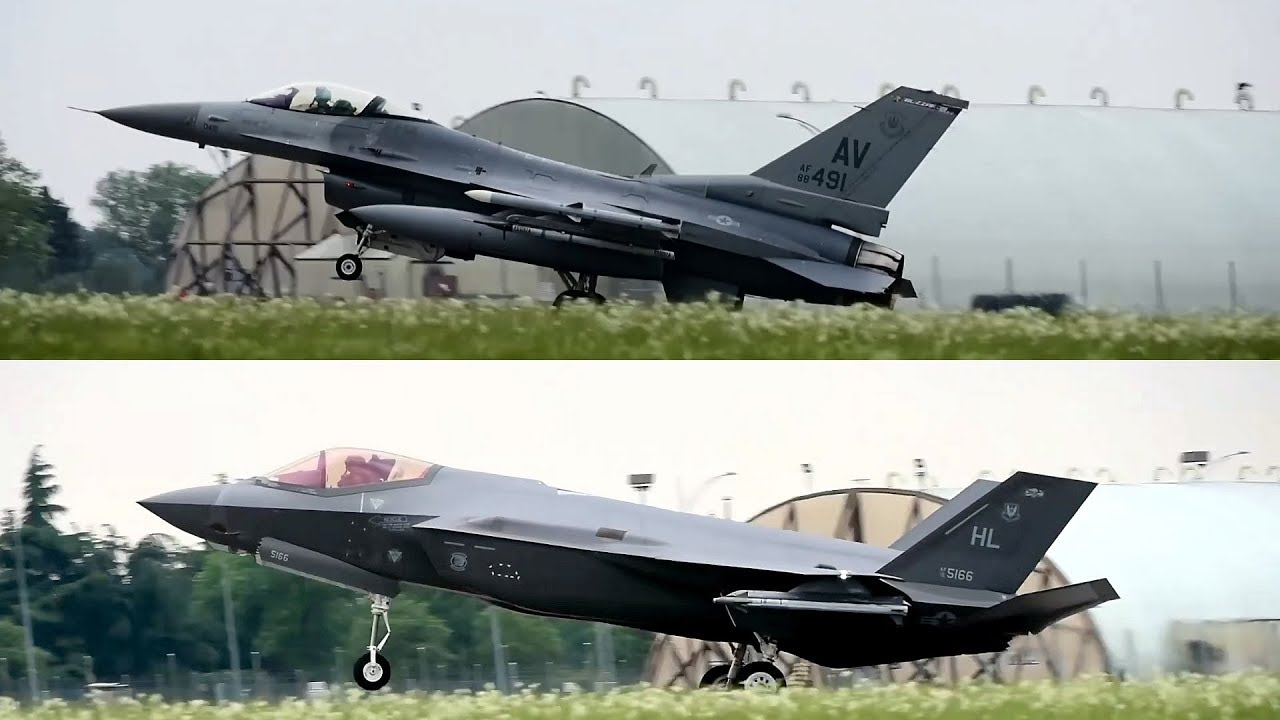 F-16s and F-35As Take Off and Land - Astral Knight 2019