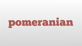 Pomeranian Meaning And Pronunciation