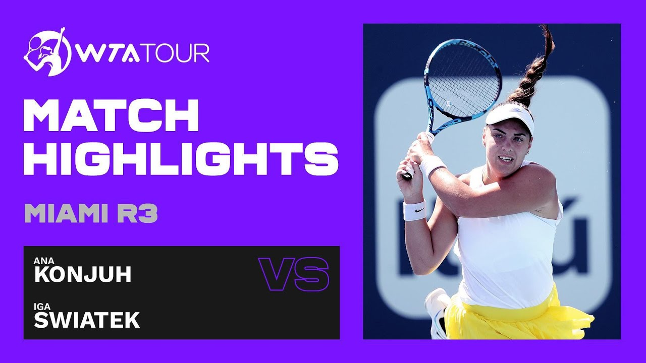 Ana Konjuh vs. Iga Swiatek | 2021 Miami Open Round 3 | WTA Match Highlights