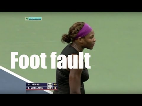 Foot fault at an extremely important point. Serena at US Open 2009