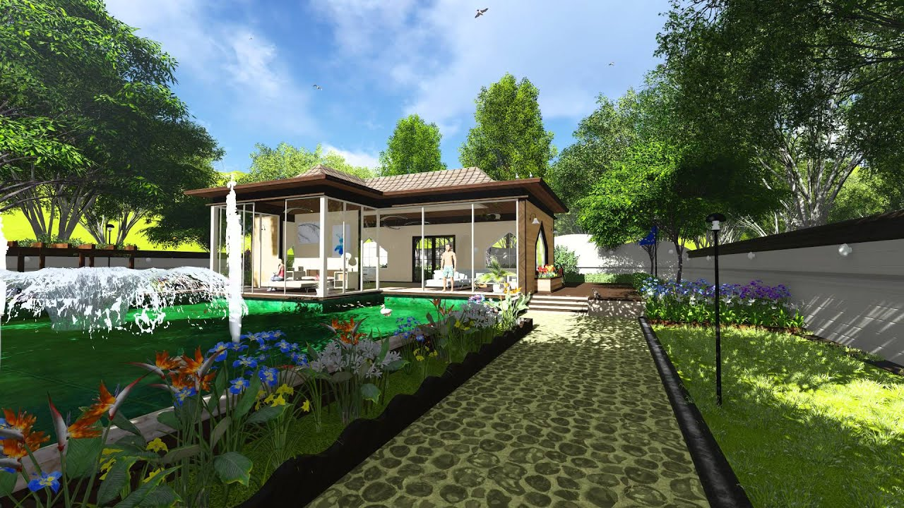 Deluxe garden villa 3d landscape revit lumion model youtube for 3d garden designs