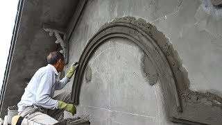 Smart Techniques Construction Rendering Sand & Cement Create a Curve On The Decoration Concrete Wall