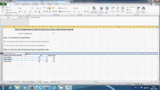 Étude d'un lien etre deux variables dans Excel.