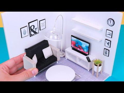 DIY Miniature DollHouse Rooms Tutorial - Living Room!