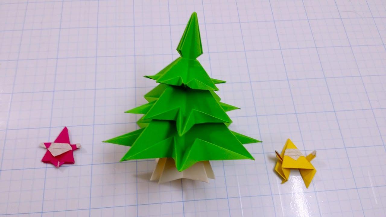 C mo hacer un rbol de navidad con un cuadrado de papel - Como hacer un arbol de navidad de papel ...