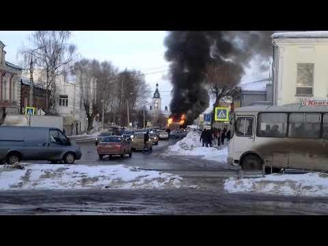 Сгорел автобус в г. Шуя. 22.03.2018