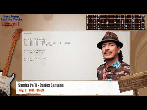 Samba Pa Ti - Carlos Santana Guitar Backing Track with chords