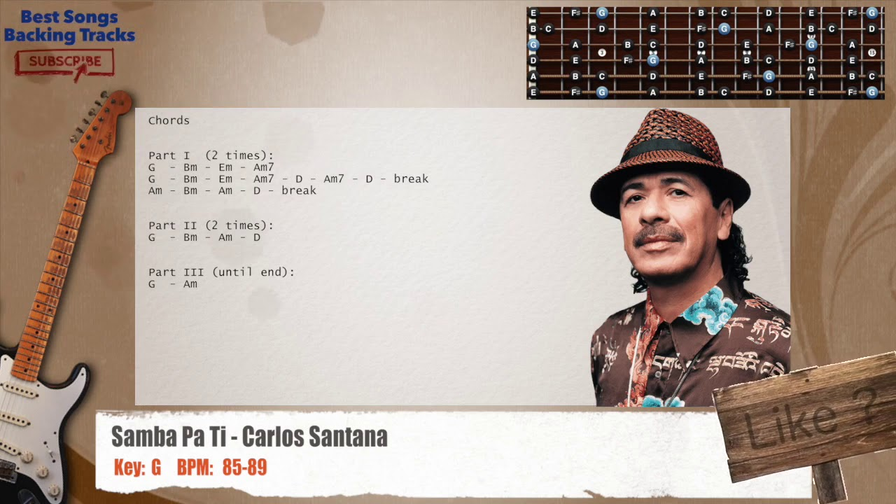 Samba Pa Ti Carlos Santana Guitar Backing Track With Chords Youtube