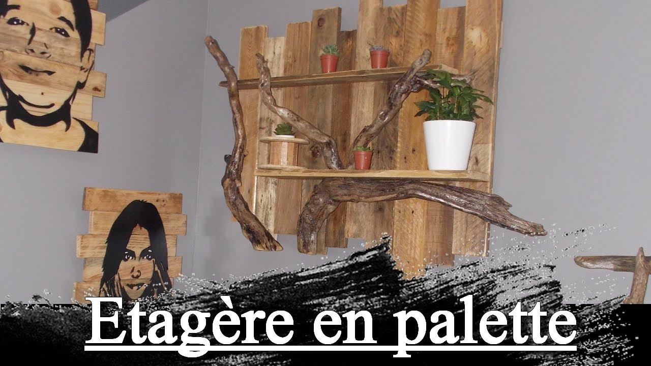 Deco Terrasse Bois Flotté etagère en palette et bois flotté design, shelf in pallet and driftwood,  tutorial