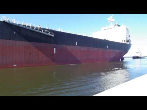 Big Ship Entering Ravenna Harbour (Italy)