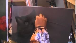 Видеоурок Сахарова Как научиться рисовать кота  живопись для начинающих  уроки рисования Киев