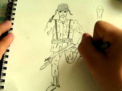 Comment dessiner un soldat am ricain ww2 partie 2 youtube - Dessin de soldat ...