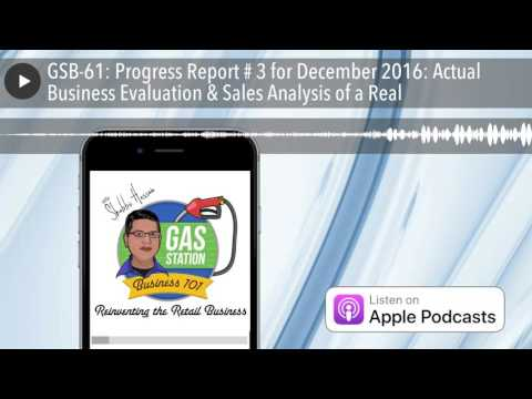 GSB-61: Progress Report # 3 for December 2016: Actual Business Evaluation & Sales Analysis of a