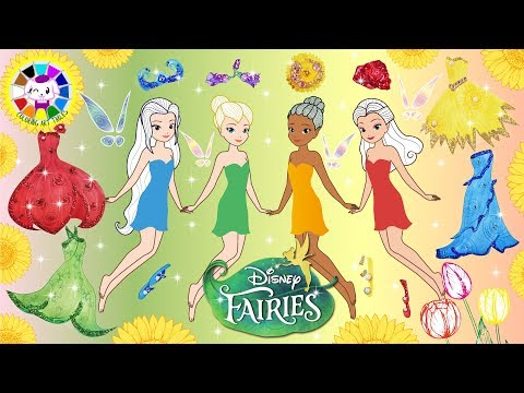 Paper Dolls Disney Fairies Tinker Bell make up and dress up like Flower Festival homemade craft