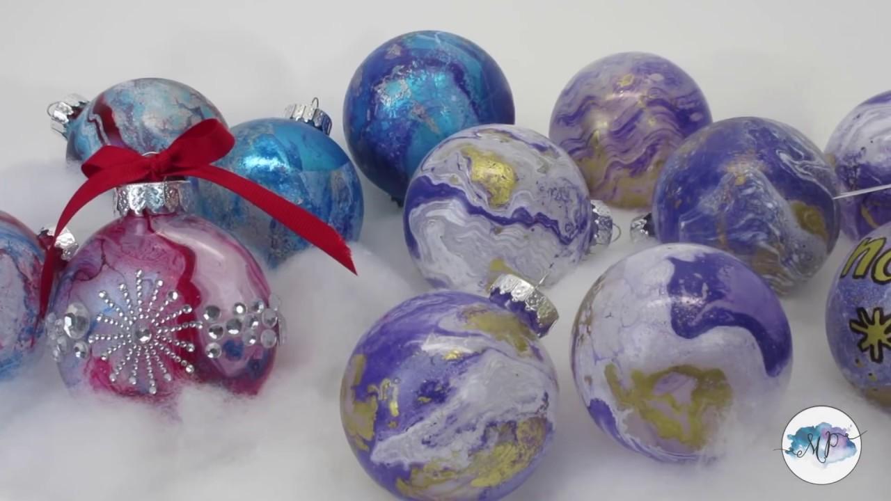 Diy Christmas Ornaments Spray Paint On Water Transfer