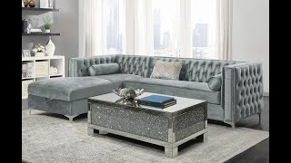 Benett Chesterfield Sectional Crystal Tufted Velvet